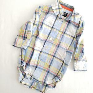 OshKosh Baby Boy Blue plaid button front bodysuit